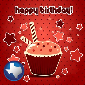 a happy birthday card - with Texas icon